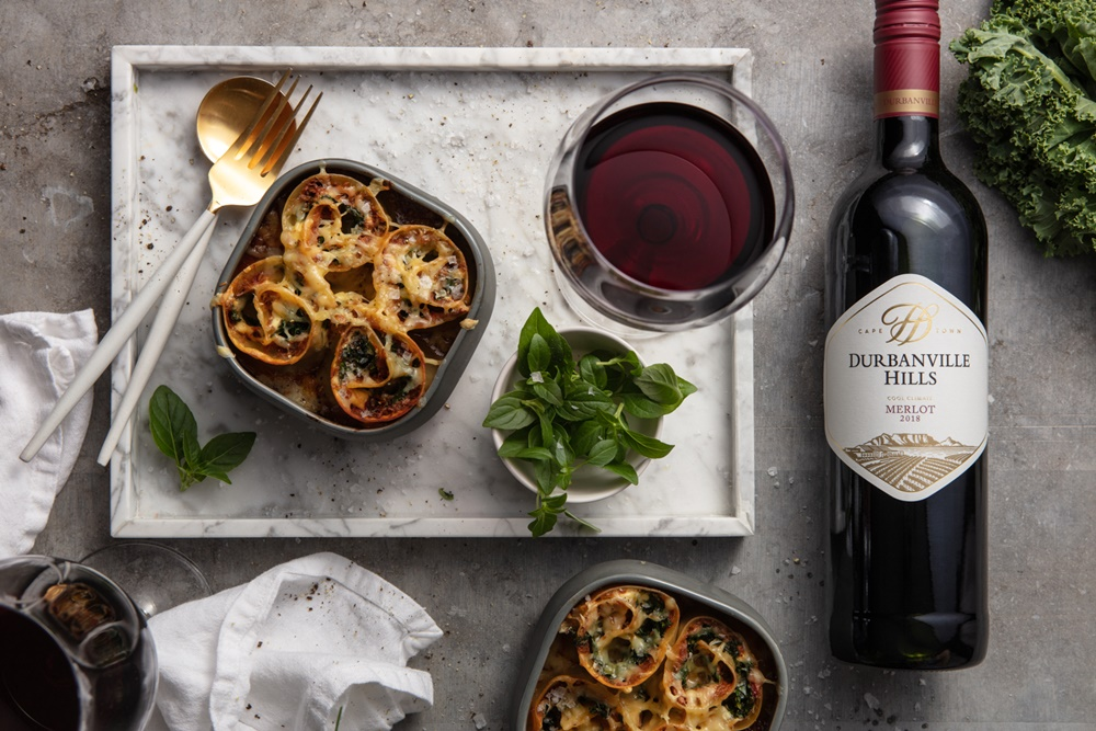 Kale and Lamb Rotolo with Tomato Sauce and Boerenkaas with Durbanville Hills Merlot